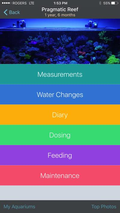 AquaticLog iPhone App Screen 1